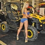 """Lots of side-by-side vehicles were on display at this year's show. This tricked out Can-Am Commander was kept meticulously clean by special """"waxing"""" models outfitted with lifted shoes for those hard to reach spots atop the cab."""