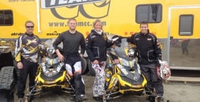 X-Team members left to right Korey Cronquist (team manager) Tyler Aklestad, Julie Thul and Tyson Johnson used their Ski-Doo MX Z XRS 600 snowmobiles to win the 2012 Arctic Man competition.