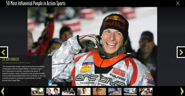 Levi LaVallee Named One of the 50 Most Influential People In Action Sports