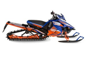 The biggest and baddest mountain buggy in the Yamaha stable for 2015 is the Viper MTX 162 LE. Along with the blue and orange wrap, the LE receives FOX EVOL shocks up front versus the Float 3 units found on the MTX SE