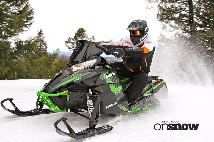 The popular El Tigre' ride package returns and touts the same add-ons as the Limited package such as QS3 chocks, mid-height windshield, rear storage bag, goggle holder, curve Sno Pro brake lever and ProCross bumper in the iconic El Tigre' green striped motif.