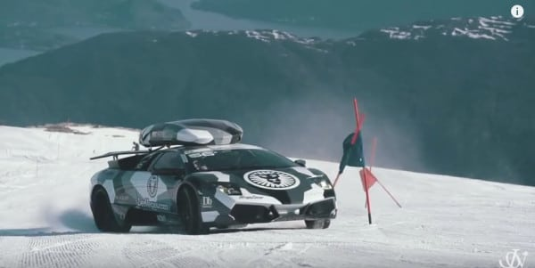 VIDEO – Lamborghini Studs Up and Does Its Best Snowmobile Impersonation on a Glacier