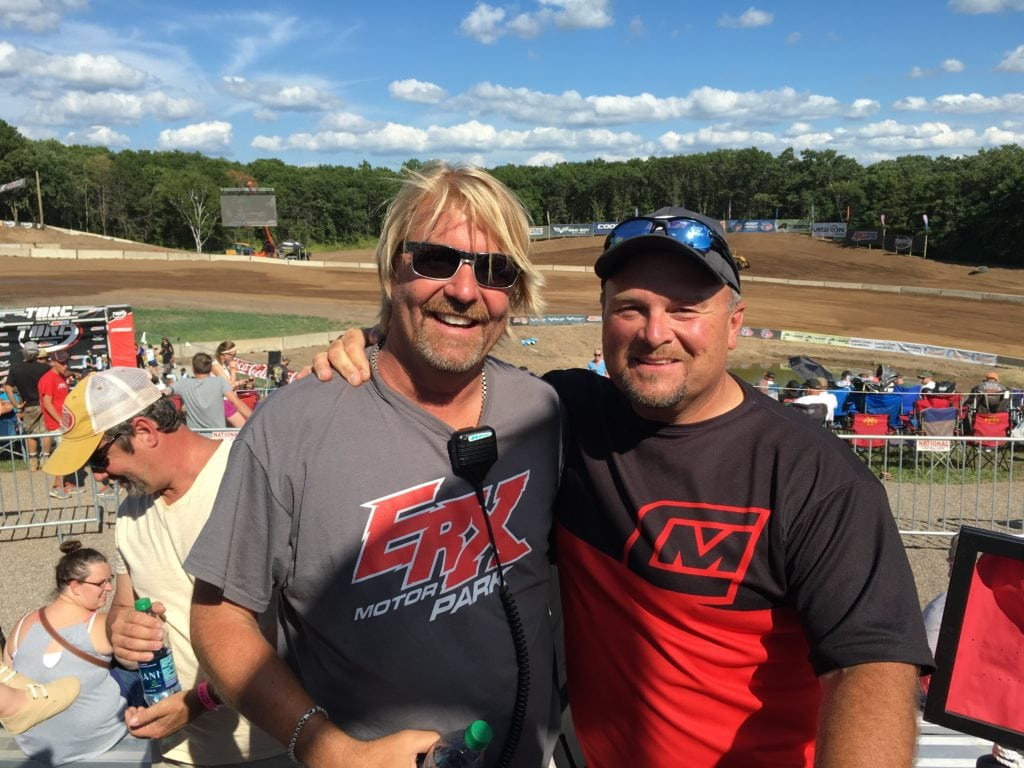It was a day of smiles and success last summer as ERX co-owners Todd Plaisted (left) and Chris Carlson (right) enjoyed a day of TORC truck racing at their recently expanded ERX facility.