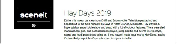 HAY DAYS 2019 – SCENE IT