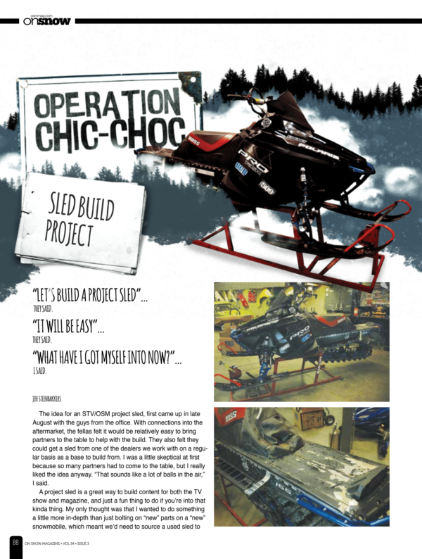 OPERATION CHIC-CHOC, SLED BUILD PROJECT!!